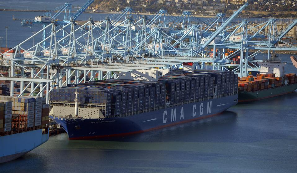 The 'Benjamin Franklin,' the largest container ship to ever call at a North America port, is docked at the Port of Los Angeles in San Pedro, California.