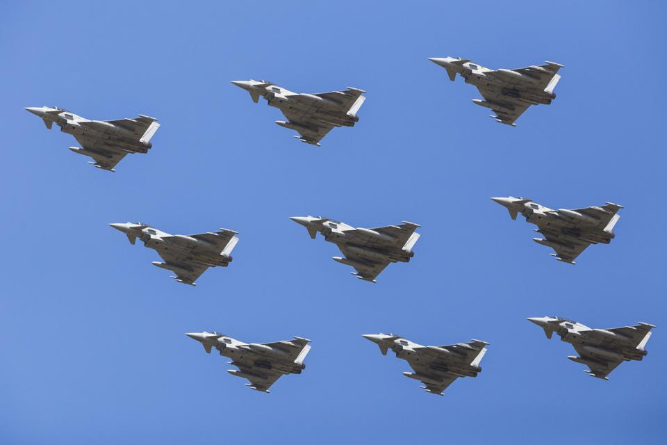 Diamond nine formation of Royal Air Force Typhoon jets.