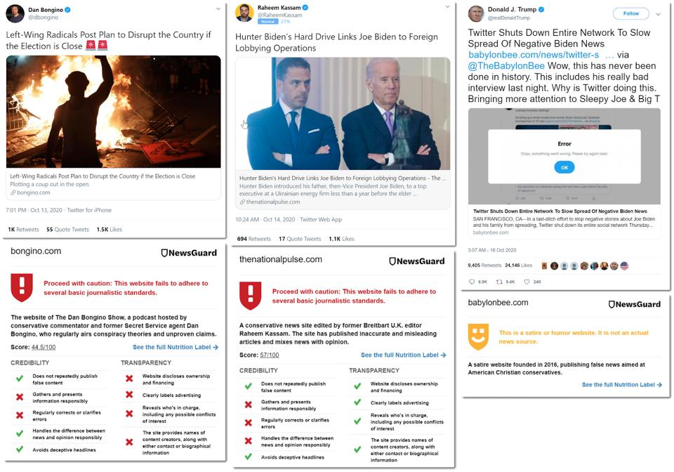 screen shots from Twitter - examples of disinfo being spread