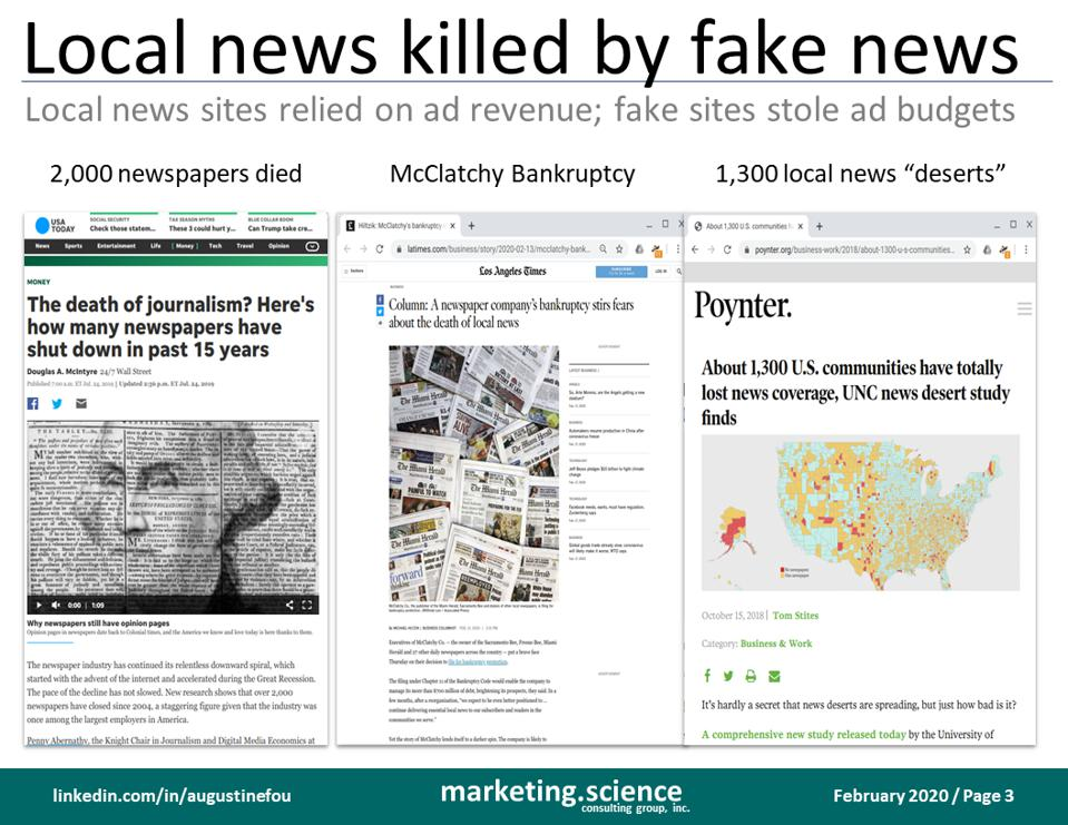 slide on the effect of fake news, real news outlets died