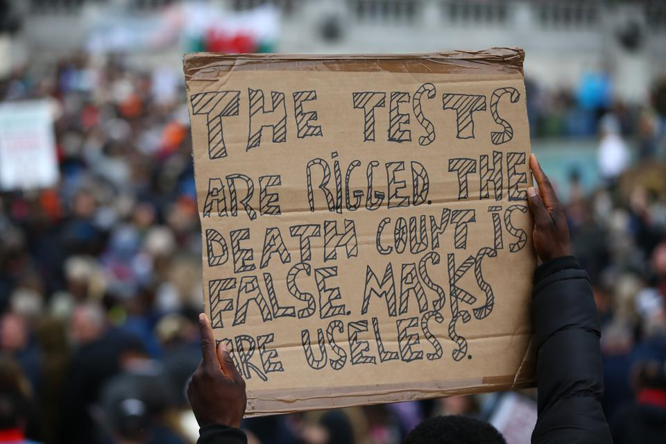 Anti-mask Protest In Trafalgar Square
