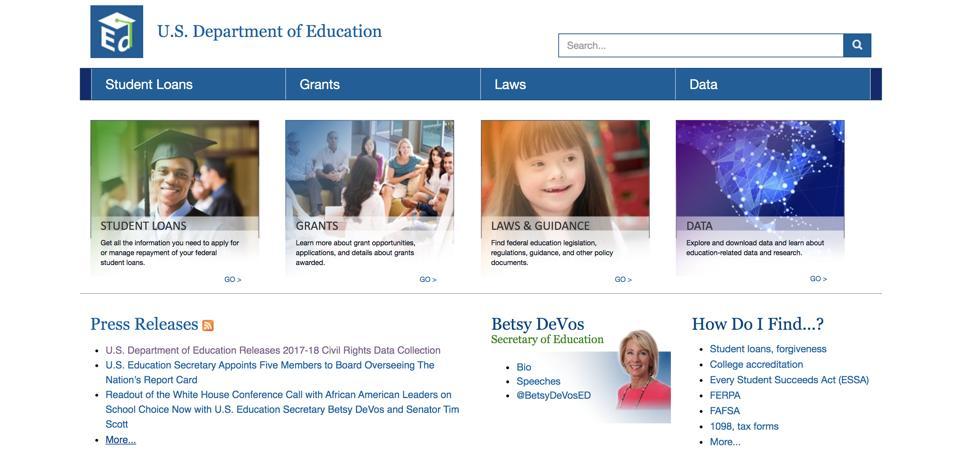 Department of Education website