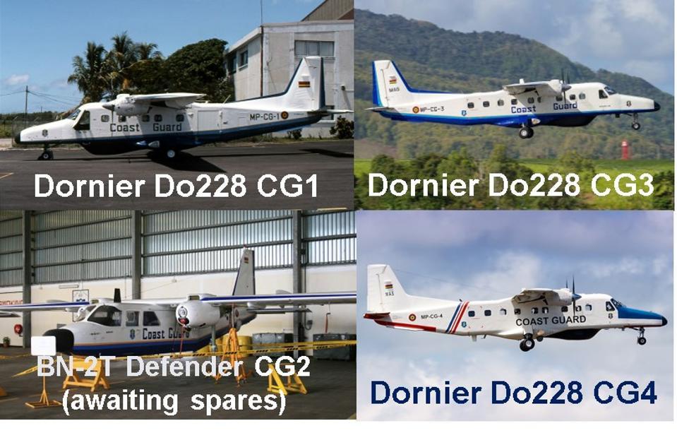 Fleet of three Dornier Do228 still active for Mauritius Coastguard (CG1, CG3, CG4)