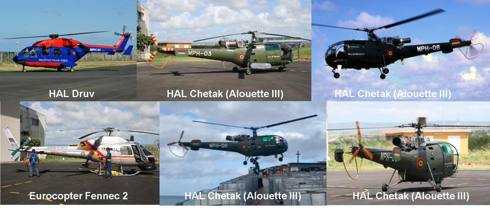 Six Helicopters in the Mauritius Helicopter Squadron: HAL-built Druv, four Chetaks (Alouette III), and a Airbus Eurocopter Fennec 2