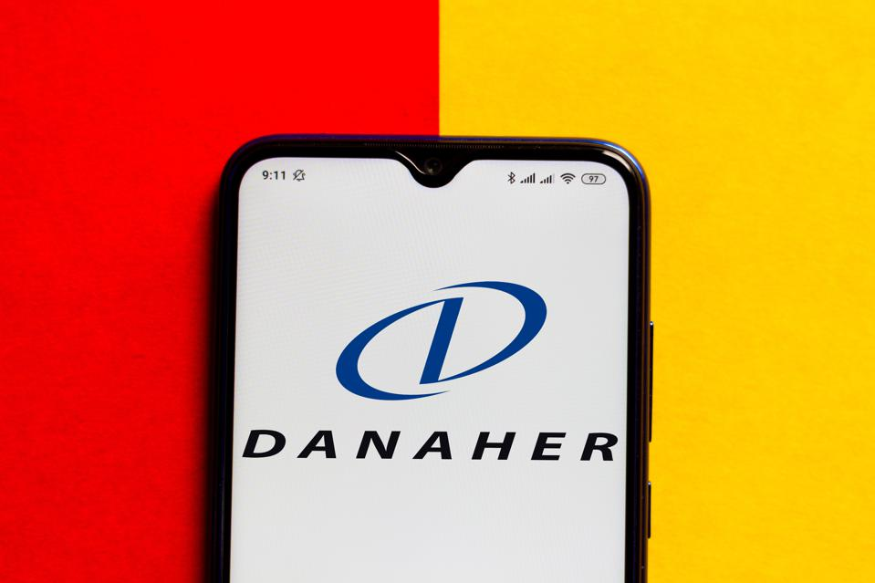 In this photo illustration the Danaher Corporation logo seen...