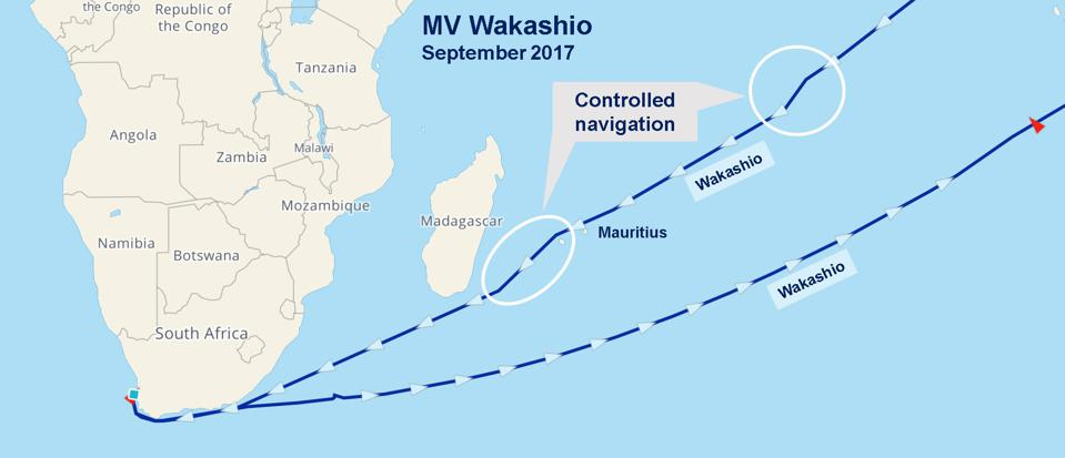 Wakashio's navigation route from Asia to South Africa in September 2017, past Mauritius.