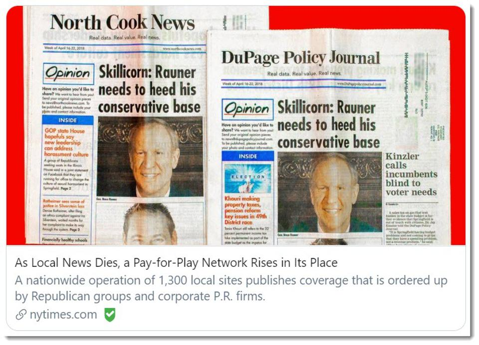 Local News Dies, a Pay-for-Play Network Rises in Its Place operation of 1,300 sites
