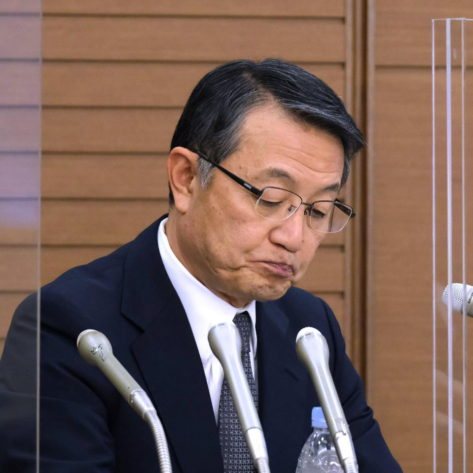 Mitsui OSK Lines President and CEO Junichiro Ikeda attends a press conference at the company's headquarters in Tokyo on September 11, 2020 on the Wakashio.