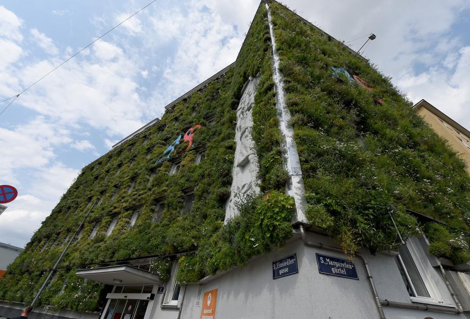 The green facade of the MA 48 headquarters in Vienna, Austria.