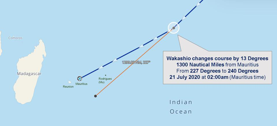 Unlucky 13: The Wakashio changed course by 13 degrees at 1300 Nautical Miles from Mauritius