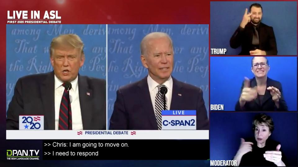 A screenshot of the first debate broadcast. Three interpreters are next to Biden and Trump