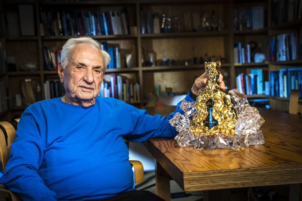 Frank Gehry and the limited-edition Hennessy X.O decanter he designed