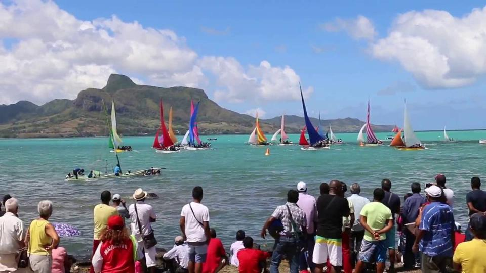 The Mauritius Regatta in Mahebourg with Lion Mountain in the background. This bay was heavily impacted by the oil spill.