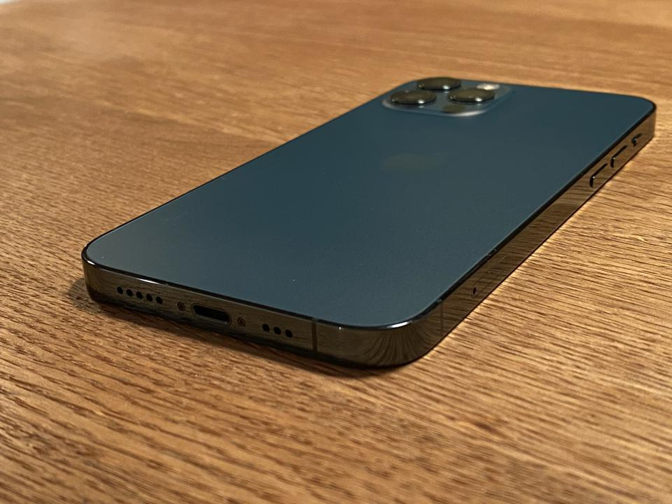 Apple iPhone 12 Pro in Pacific Blue finish.