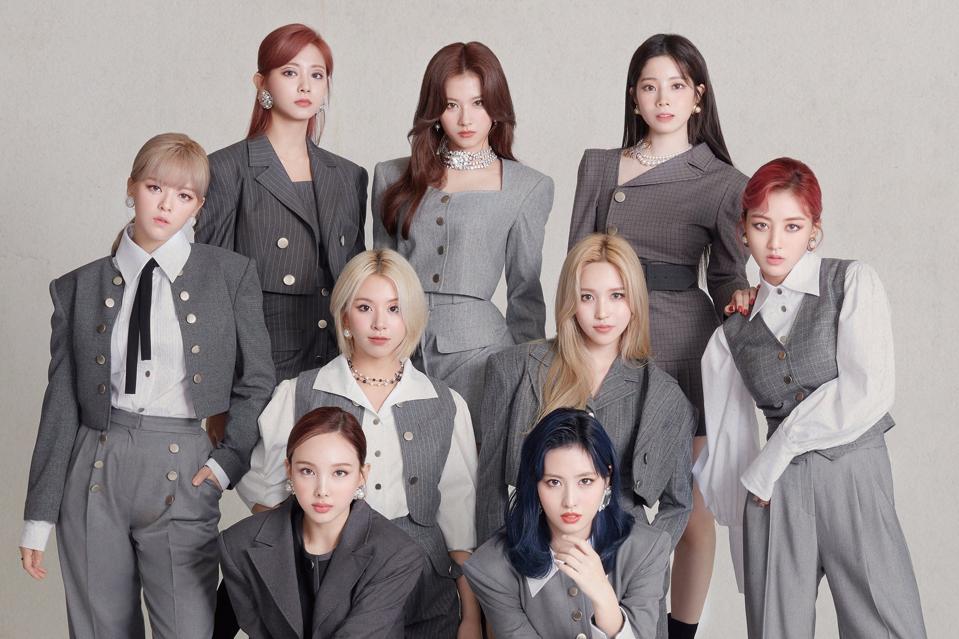 TWICE Eyes wide open album group teaser photo OT9 Mina Jeongyeon style can't stop me gray