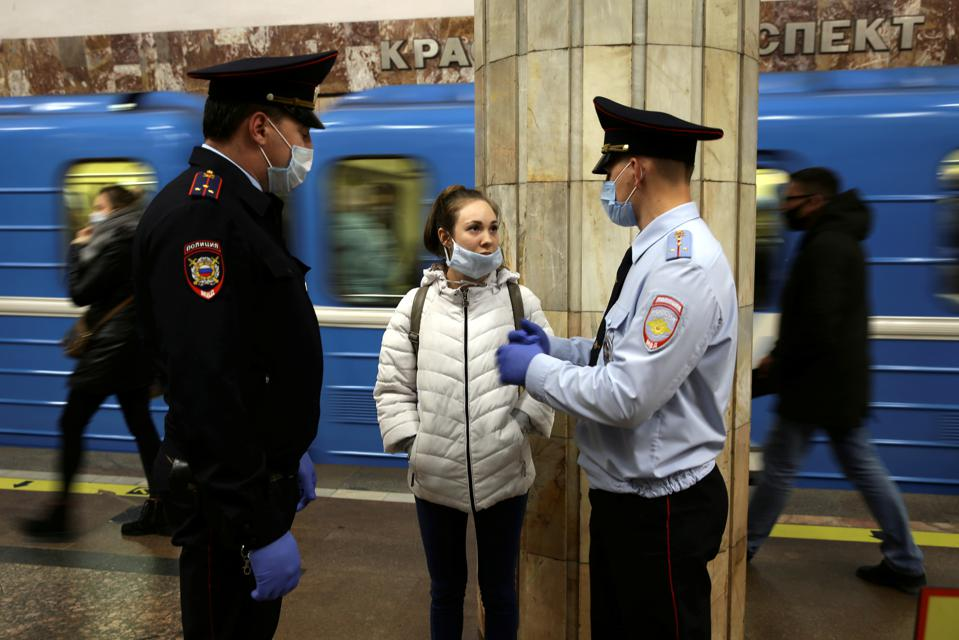 Police check compliance with face mask rules in Novosibirsk, Russia during COVID-19 pandemic