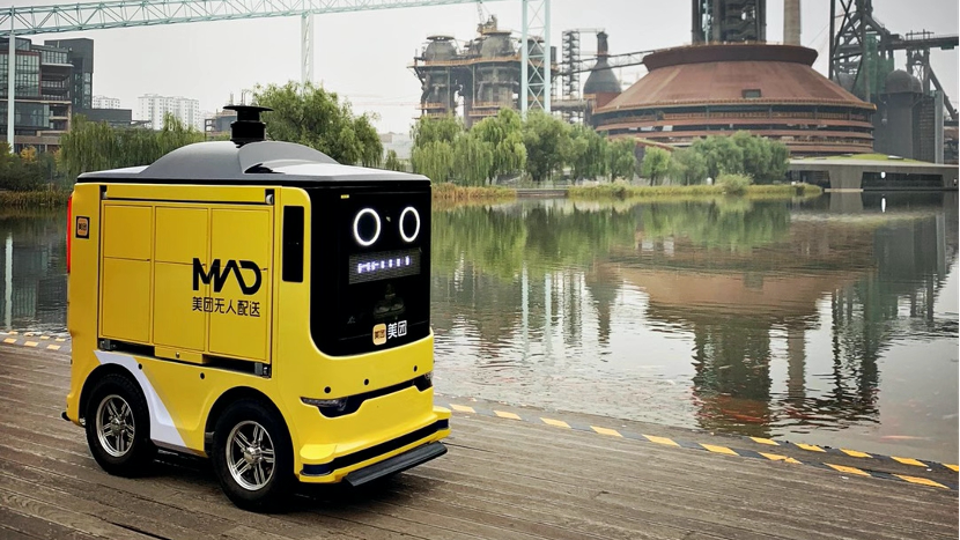 Meituan Dianping unleashes Automated Guided Vehicles to deliver goods around Beijing's Shougang Park.