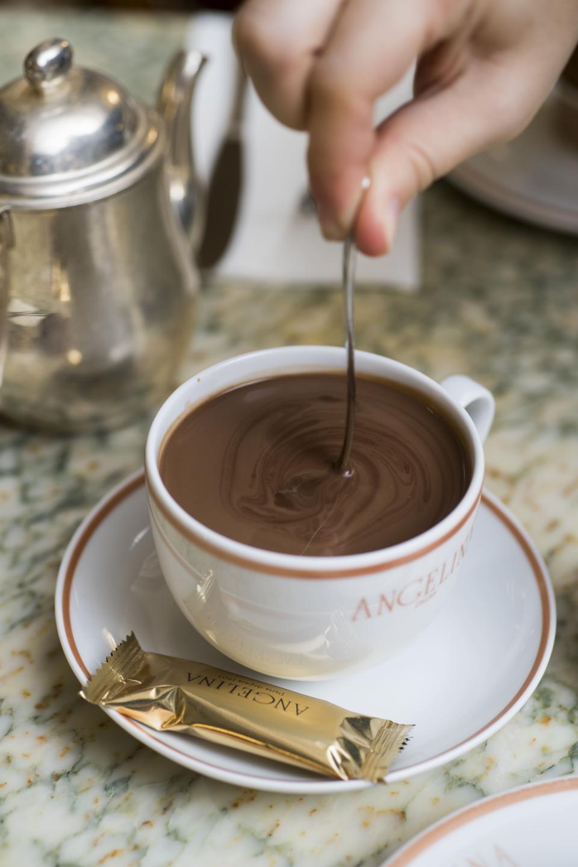 The tea house's decadent hot chocolate in Paris.
