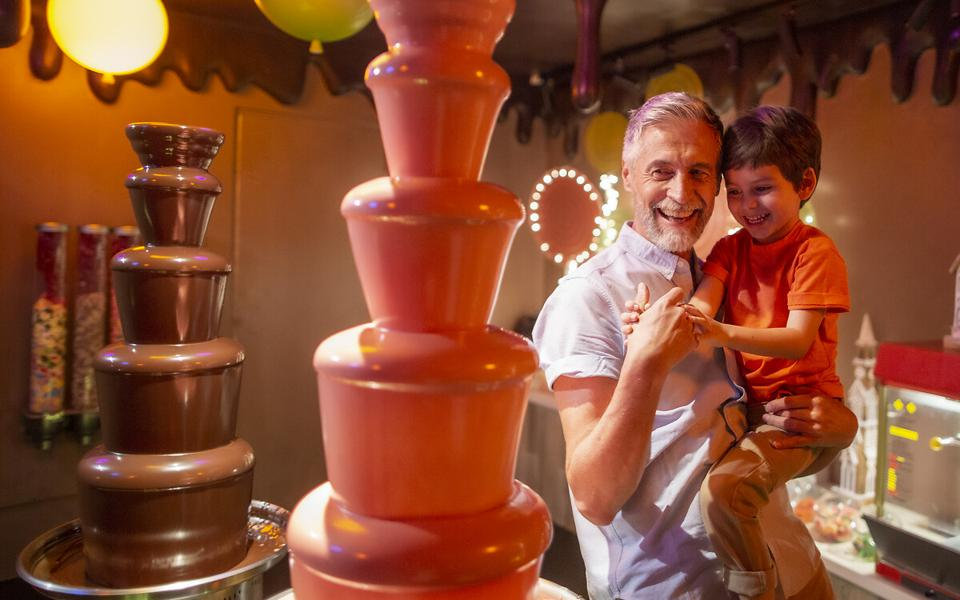 A chocolate speakeasy features unlimited sweets and chocolate fountains.