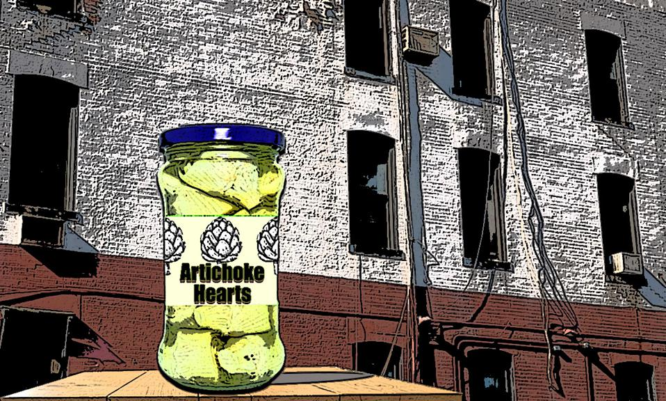 A jar of artichoke hearts in front of an old apartment building.