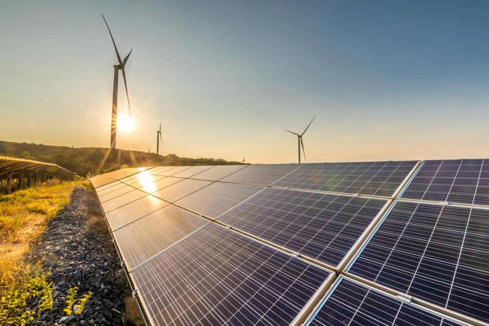 Solar energy and wind power stations