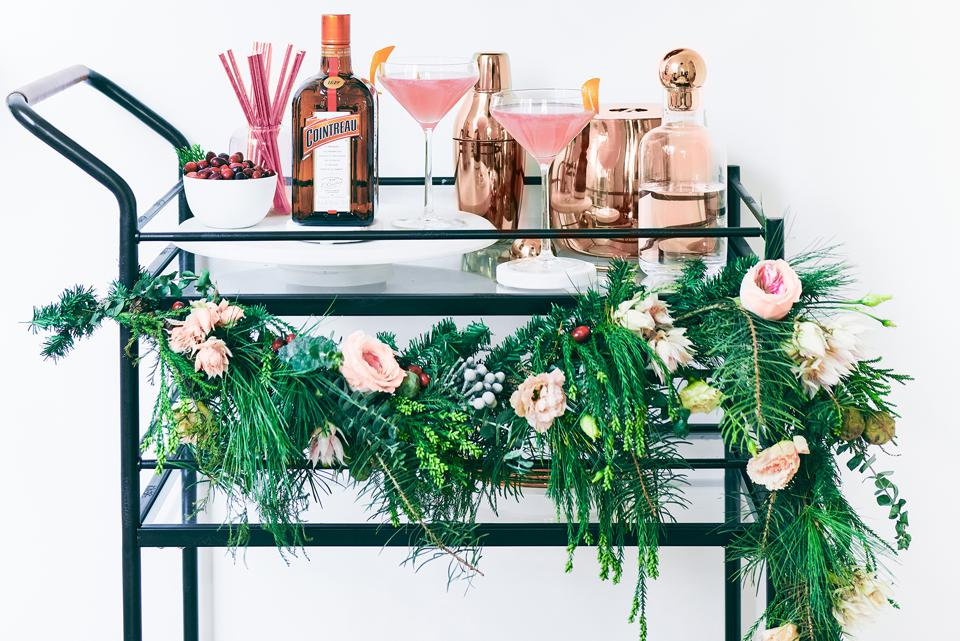 A Cosmo bar cart decked out for the holidays.