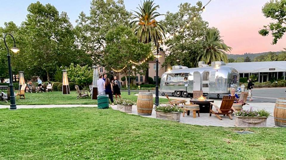 Fire pit and airstream