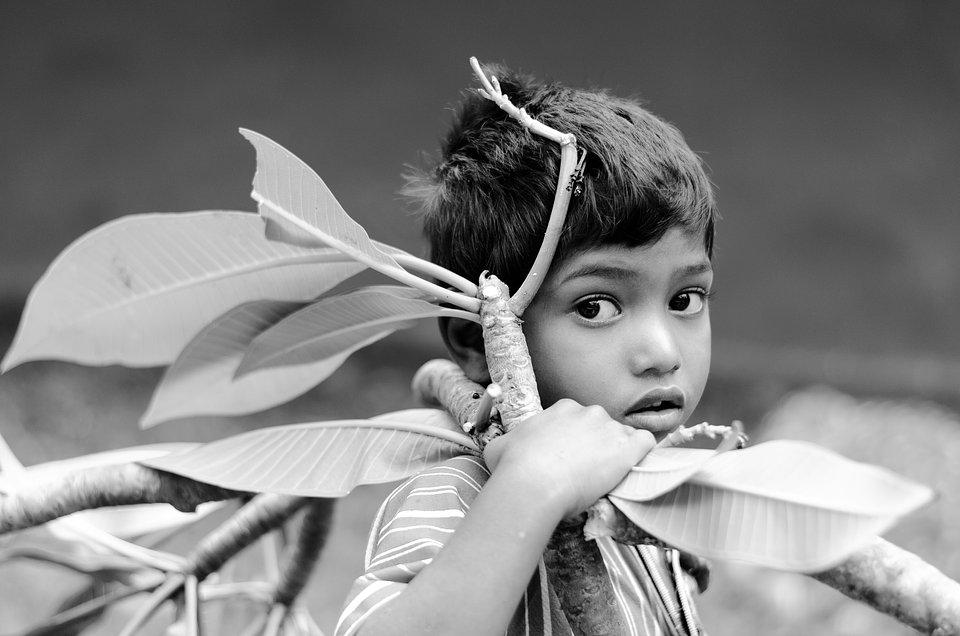 The World We Want, global photo contest: black and white photo of a boy carrying big tree branches