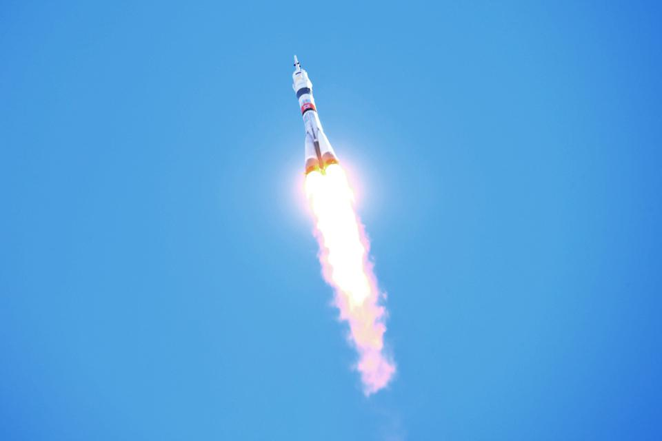 Soyuz-2.1a rocket booster with Soyuz MS-17 spacecraft launched to ISS from Baikonur Cosmodrome