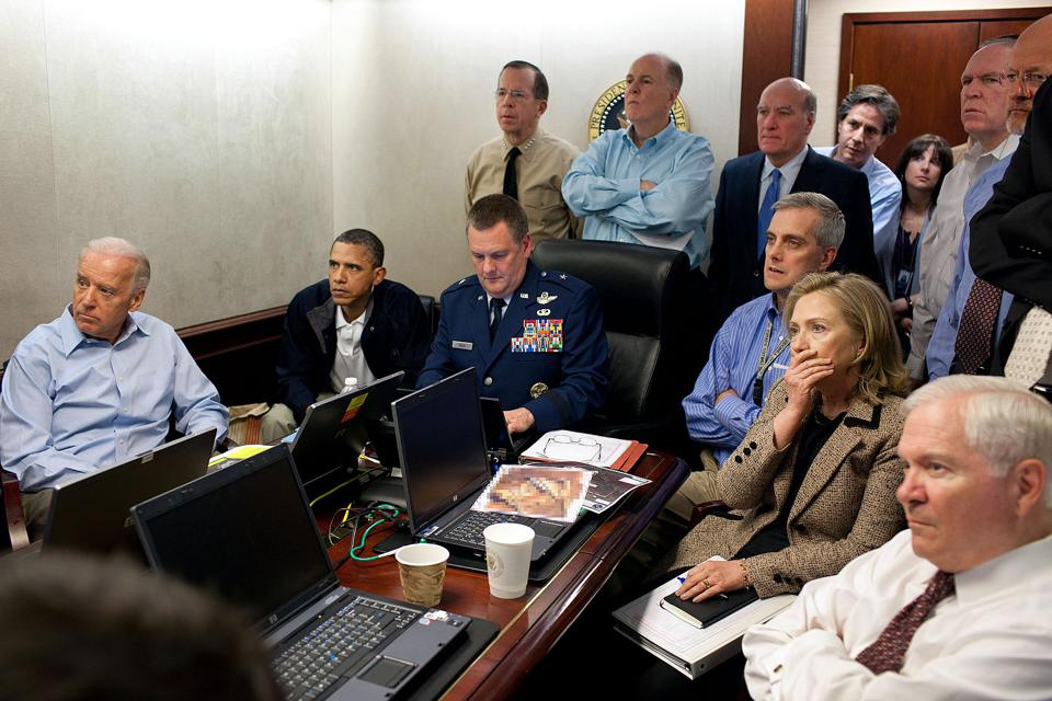 Famous photo of the Situation Room on the night Osama bid Laden was killed.