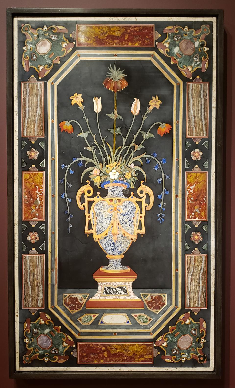 Galleria dei Lavori (now known as the Opificio delle Pietre Dure), Italian, founded 1588. Panel depicting a vase of flowers, c. 1625. Hard stones and marble. Gift of Marie G. Williams, 2008. Conservation funded by the Collectors Circle.