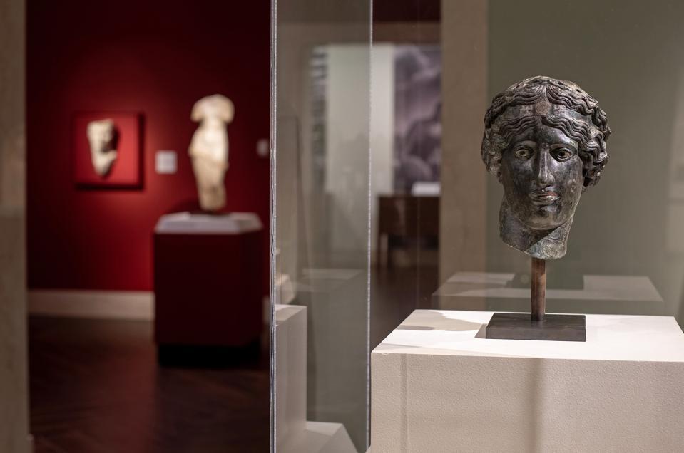 Hellenistic period, Greek, Head of Dionysus, c.200–100 B.C.. Bronze, copper-tin alloy, silver-platedeyes. Anonymous loan.