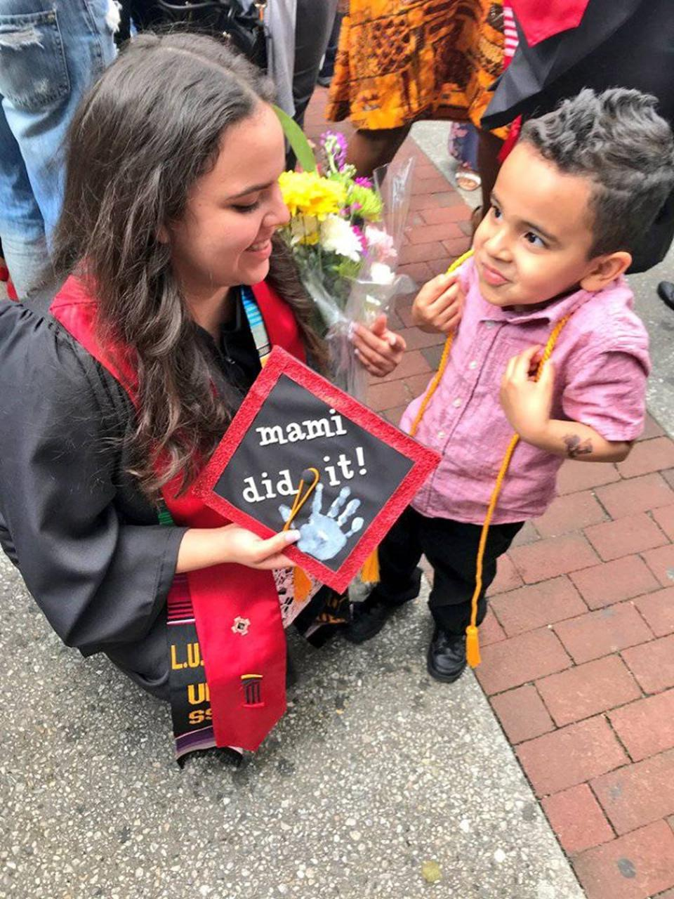 Lilliany with her son at her graduation from the University of Maryland, Baltimore