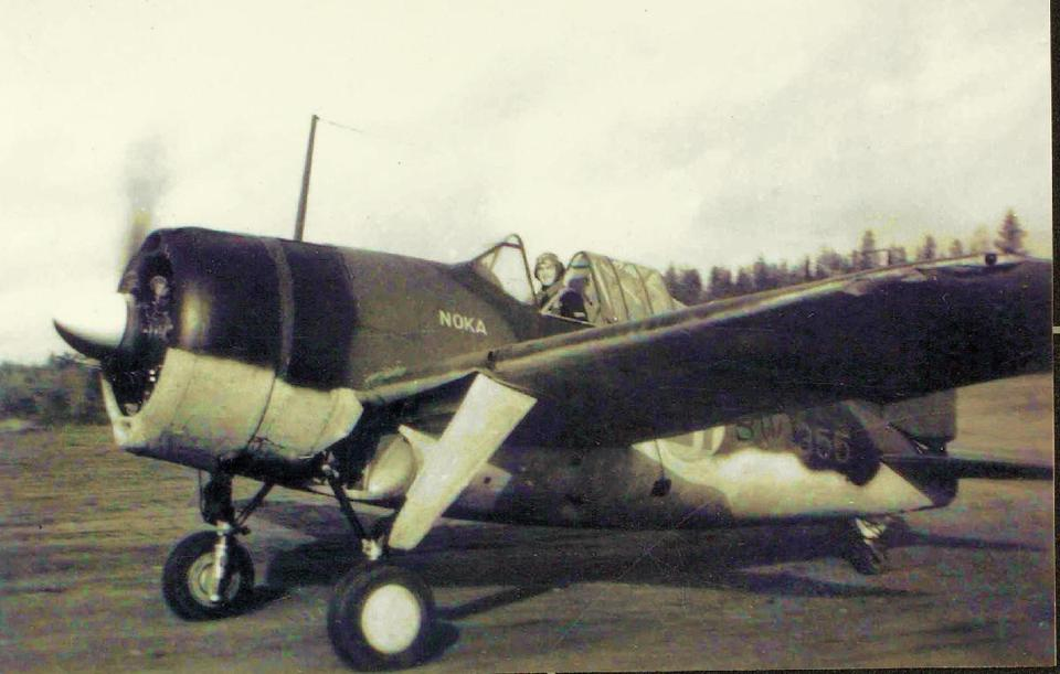 U.S.-built Brewster Buffalo named ″NOKA″ operated by Finnish Air Force in 1941.