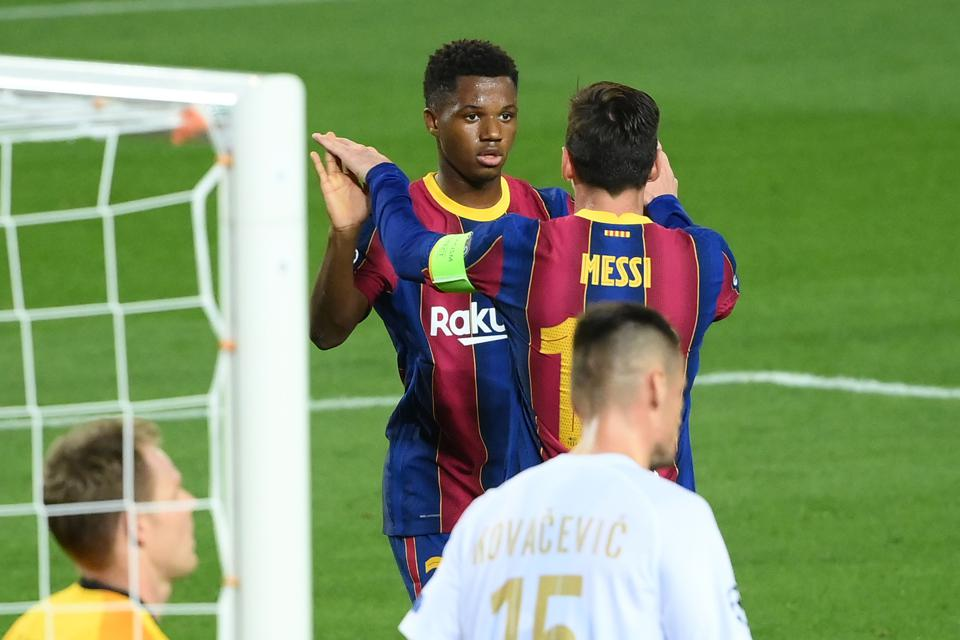 Goals from Messi and Fati helped FC Barcelona beat Ferencvaros in the Champions League