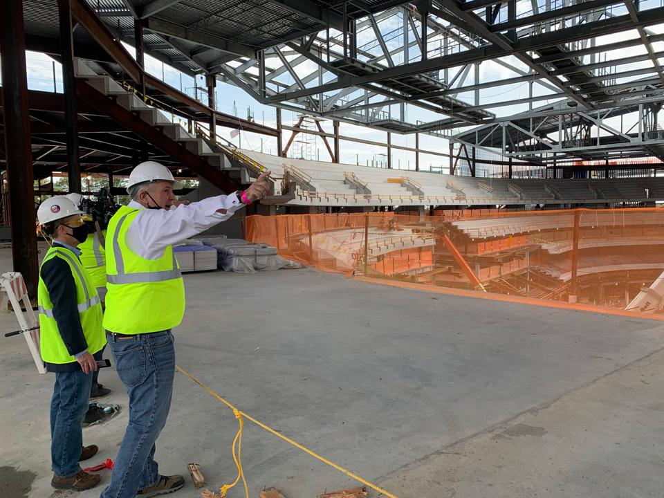 Oak View Group CEO Tim Leiweke leading a tour of the UBS Arena construction site.