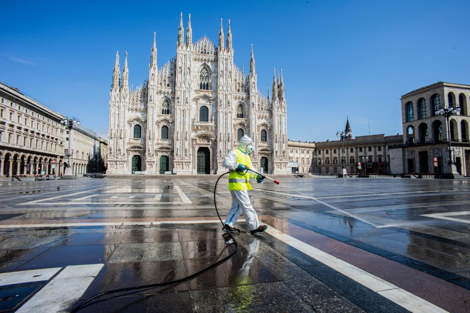 Italy, Milan. Coronavirus Emergency, Sanification of The Cathedral Square