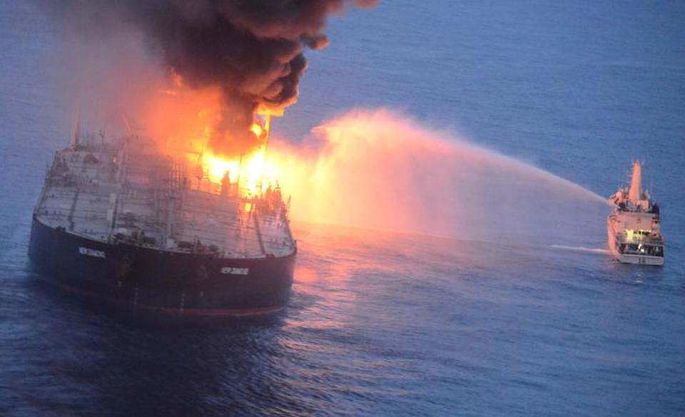 The Panama-flagged MT New Diamond carrying 2 million barrels of oil, on fire following an engine explosion off the coast of Sri Lanka.  The oil tanker was heading from the Middle East to India.