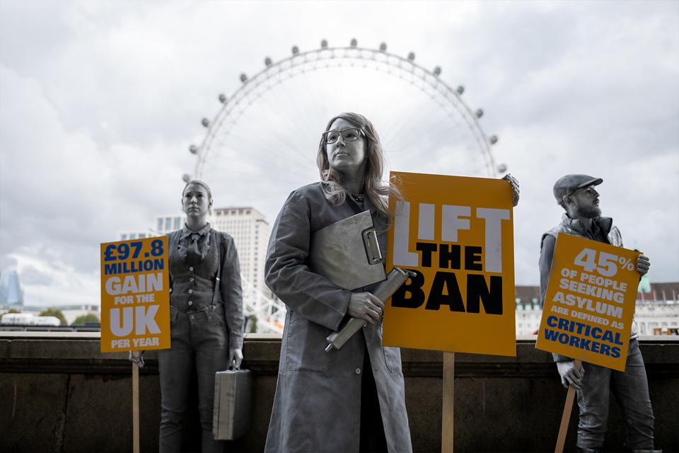Protesters Highlight Asylum Seekers Being Frozen Out of Work in Britain