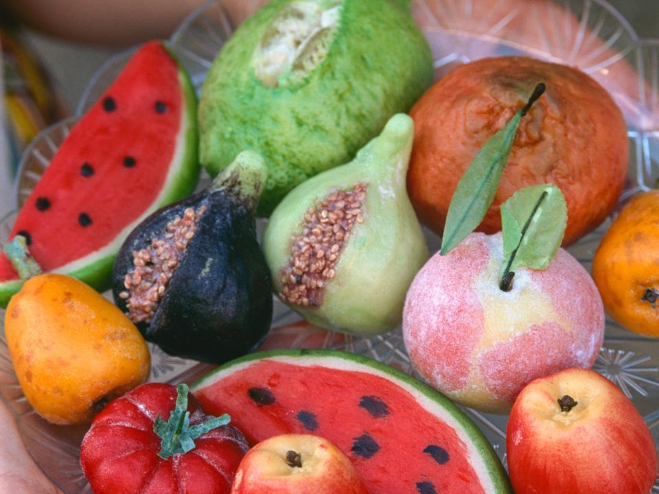 Martorana fruit (marzipan), almond sweets, Lipari