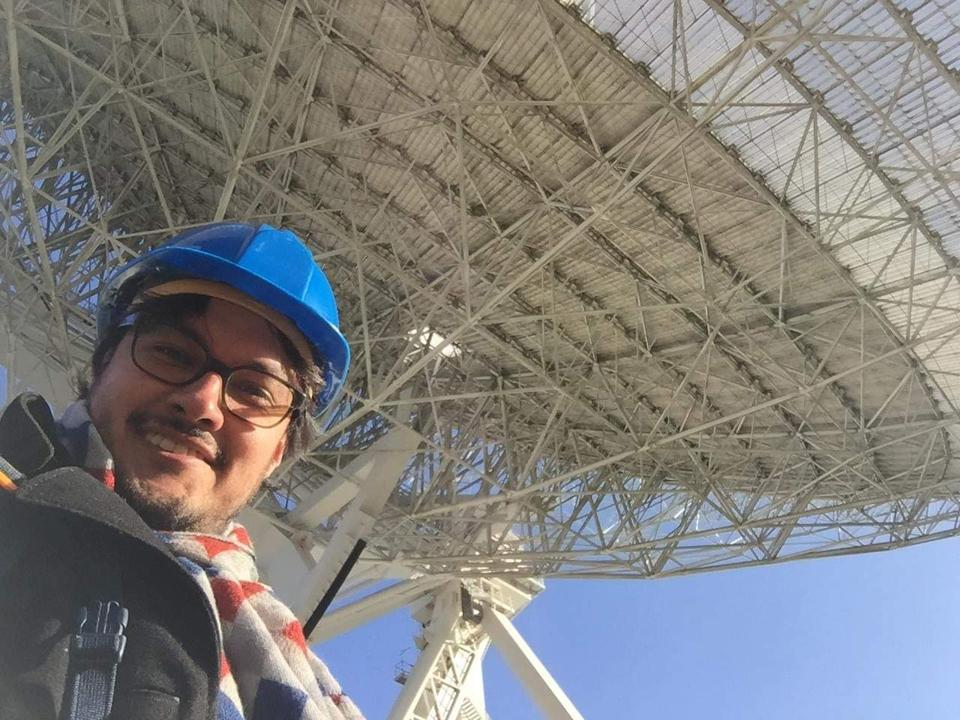 Colombian astronomer Juan Soler at the with the Effelsberg 100-m Radio Telescope in Germany.