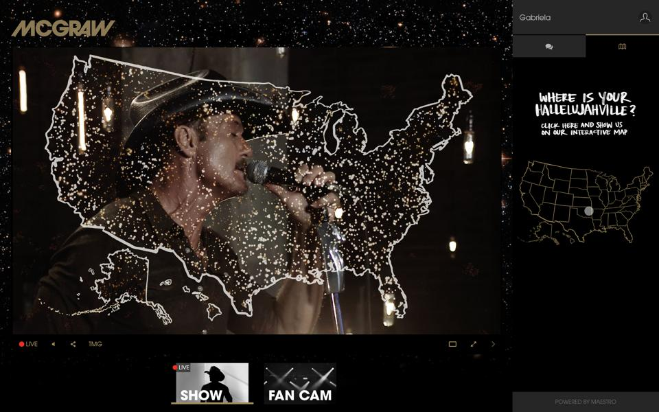 Fans light up their home towns on an interactive map during Tim McGraw's August live stream.