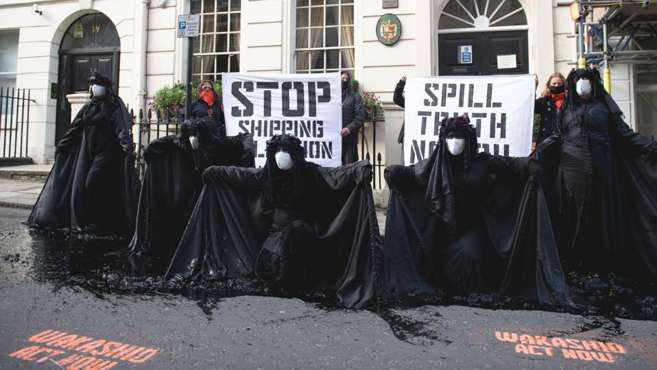 19 Oct 2020: Ocean Rebellion protests outside the Panama Embassy in London over the world's largest ship registrar's ineffective environmental and safety standards and enforcement.