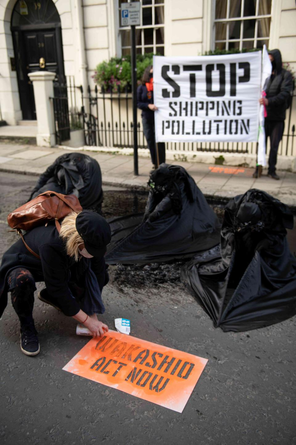 19 Oct: Protestors outside the Panama Embassy highlighting the ongoing issues caused by the Wakashio oil spill in Mauritius