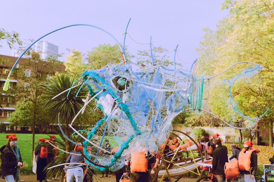 19 Oct: the protests on Monday included a giant angler fish made from abandoned fishing gear