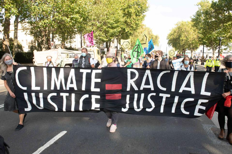 10 Sep 2020: Protestors highlighting how racial justice and climate justice are interlinked.