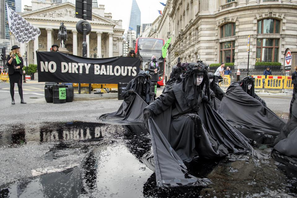 10 Jul 2020: Protestors outside the Bank of England highlighting the systemic risk of global finance that has been funding many carbon intensive industries without any independent checks or balances