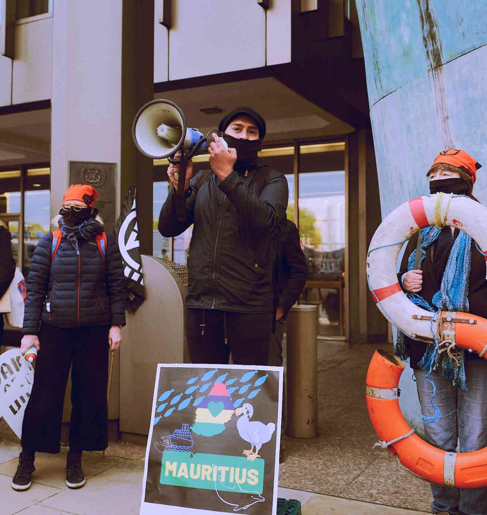 19 Oct 2020: Protestors at the IMO raised concerns about the oil spill in Mauritius from a Japanese-owned vessel.