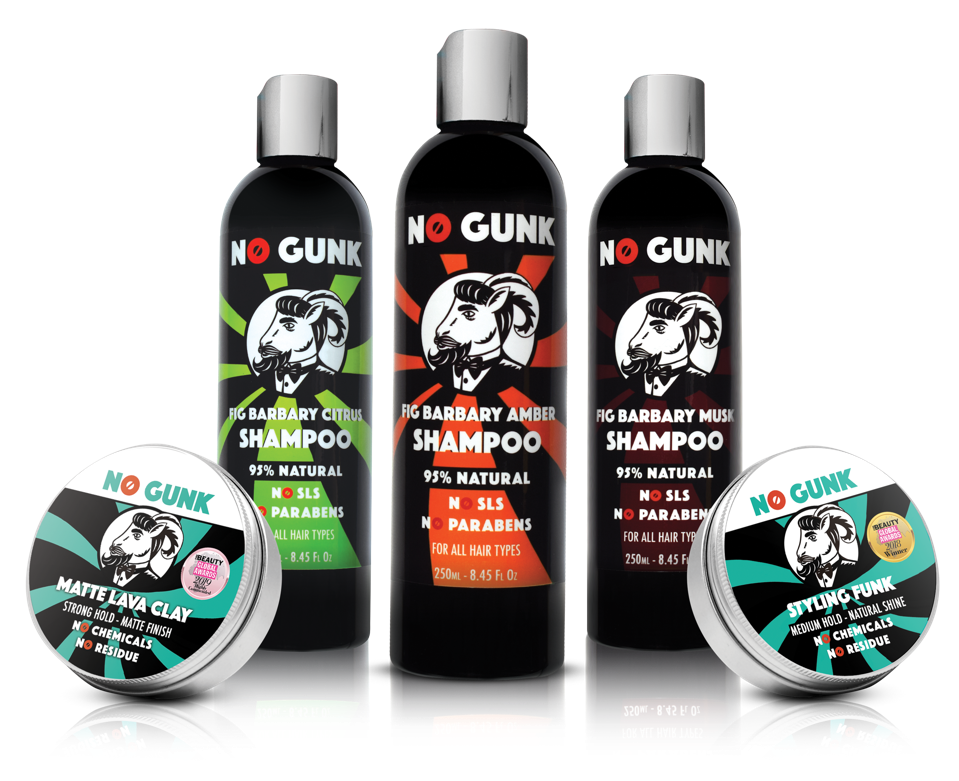The all-natural NO GUNK haircare range including the Matte Lava Clay, Fig Barbary Natural Shampoo and Styling Funk.