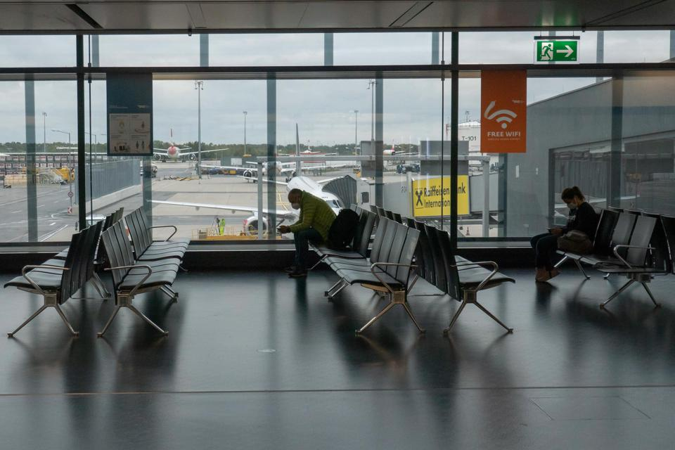 Social distancing is easier at airports that are still pretty empty.